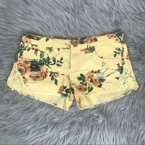 Mudd yellow floral slightly distressed shorts 9